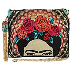 Beaded-Embroidered Clutch Handbag