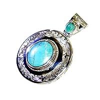 Jewelryonclick Véritable Turquoise Pendentif en Argent Sterling Charme pour Les Femmes Bleu Pierre De Naissance À La Main Bijoux