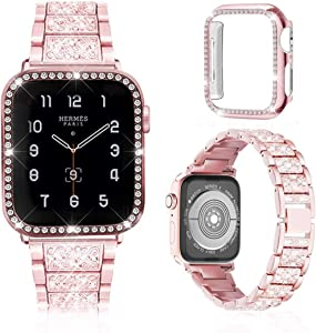 Meyicoo Compatible For Apple Watch Band 38mm 40mm 42mm 44mm with Rhinestone Protective Cover, Women Jewelry Bling Diamond Metal Strap & Soft PC Bumper Protective Case For iWatch Series 5/4/3/2/1 (Rose Pink, 42mm)