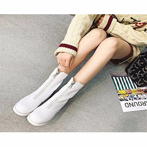HXVU56546 Winter Schuhe Vorne Zip Plus Baumwolle Martin Stiefel Plus Samt Warme Stiefel Gepolstert white