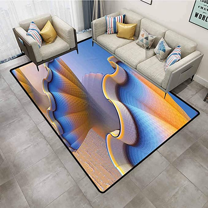 Amazon Com Rugs For Bedroom 3d Fractal Decor Trippy Fantastic Gradient Shell Figures In Digital Sci Fi Design With Free 3d Glasses Blue Marigold Carpets 5 X8 Kitchen Dining