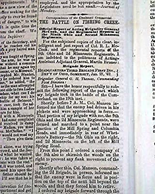 BATTLE OF MILL SPRINGS Kentucky KY 1862 Pro Confderate Civil War Newspaper THE CRISIS, Columbus, Ohio, Feb. 5, 1862
