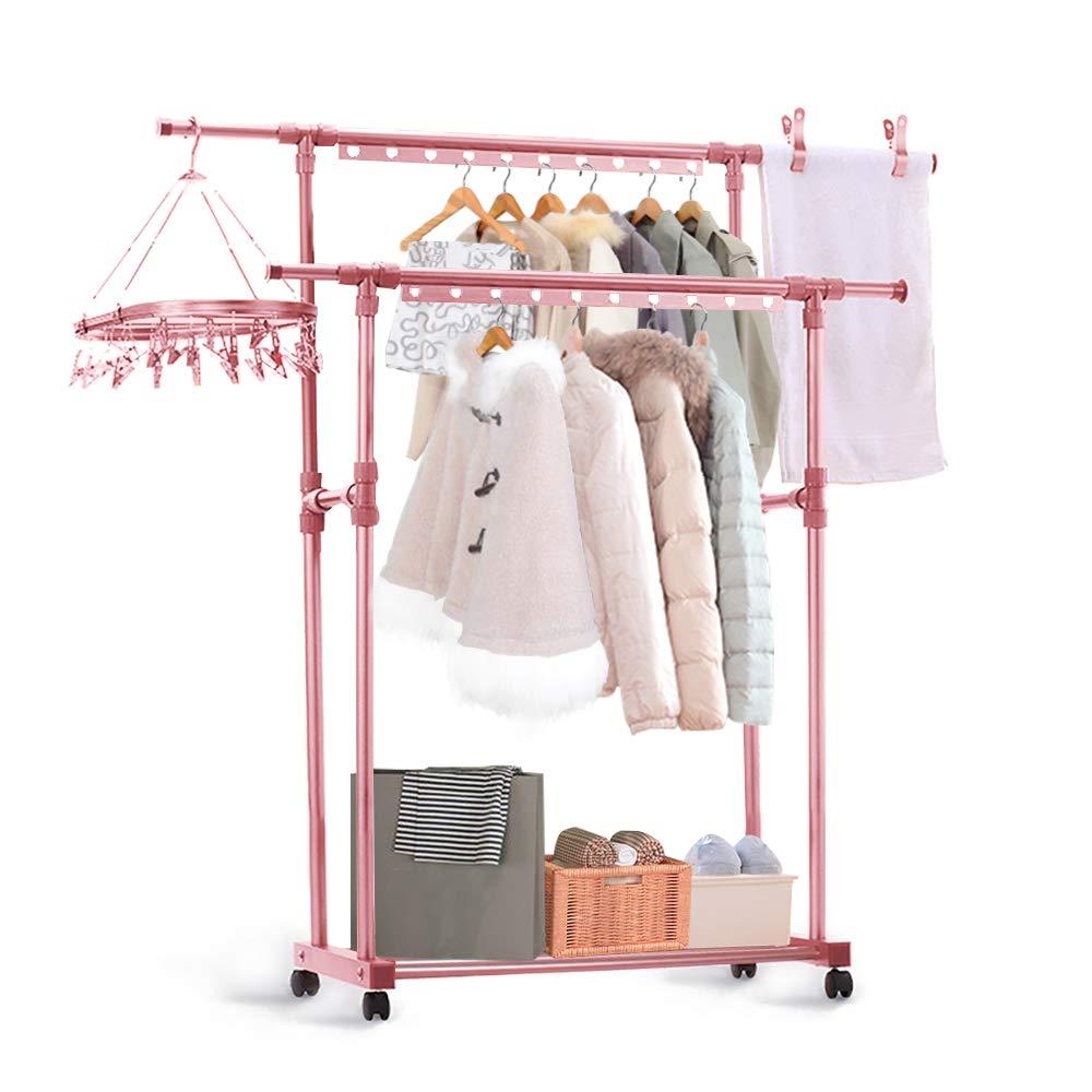 CONBOLA Adjustable Double Rods Garment Hanging Stand