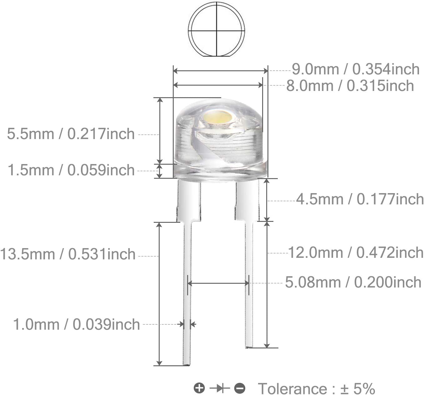446//10 # wide angle led warm white 10pcs straw hat led 4,8mm warm white