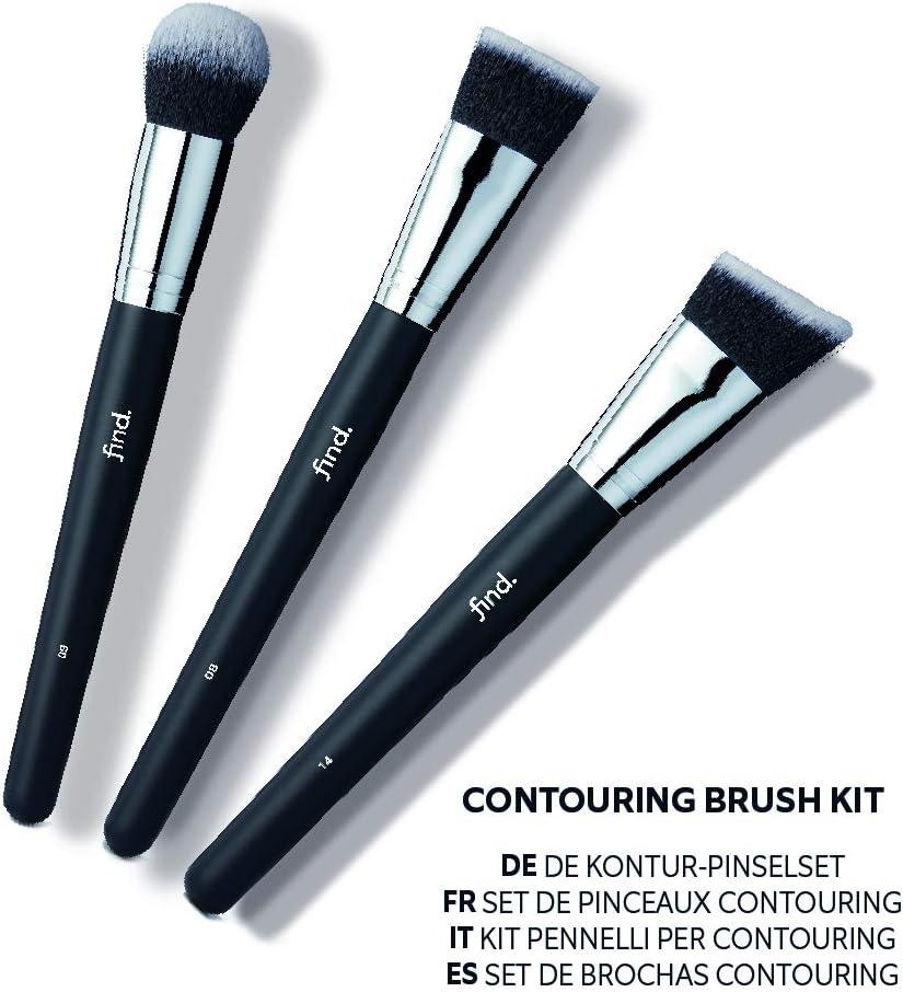 FIND - Kit de brochas de contorno: brocha para base de maquillaje, brocha para polvo bronceador y brocha de contorno (3 brochas) - n.º 08, n.º 09, n.º 14: Amazon.es: Belleza
