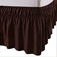 MeiLa Wrap Around Ruffled Elastic Solid Bed Skirt, Easy On/Easy Off Dust Ruffled Bed-Skirts For 16 inch Drop