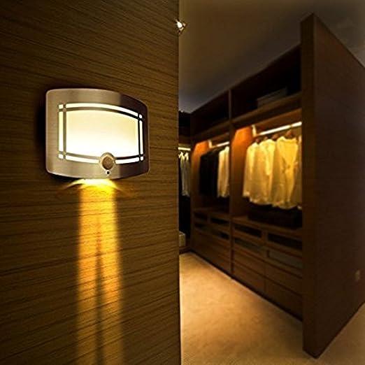 Intsun ® Luz LED Inalámbrica Sensor de Luz Movimiento Luz de la Pared Luz de Seguridad para la Puerta Decoraciones Luces Interiores Noche por Aparador Pasillo Escalera etc (amarillo): Amazon.es: Iluminación