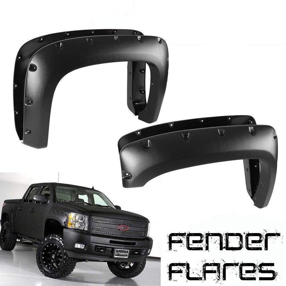 FIB Auto 4pcs Textured Black Fender Flares ABS Pocket Rivet Bolt-On For 2007-2013 Chevy Silverado 1500 2500HD 3500HD, 78.7'/97.6 Bed 78.7' /97.6 Bed