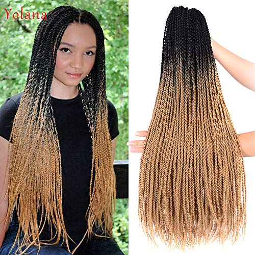 24 inch Ombre Senegalese Twist 2x Hair Crochet 30 Roots Synthetic Crotchet Braiding Hair for Women 95g/Pack (6 Packs/Lot,Black/Light Brown) ()