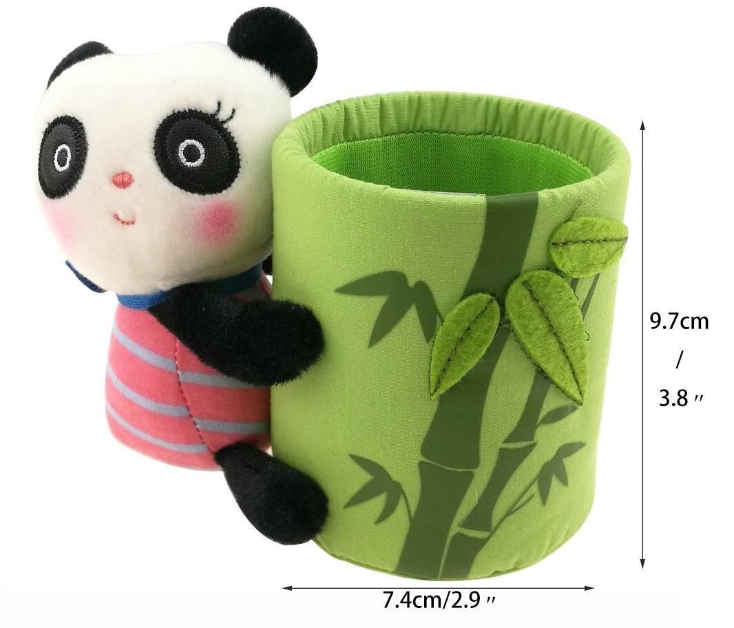 Black Leather  Panda and Bamboo Pattern Keychain