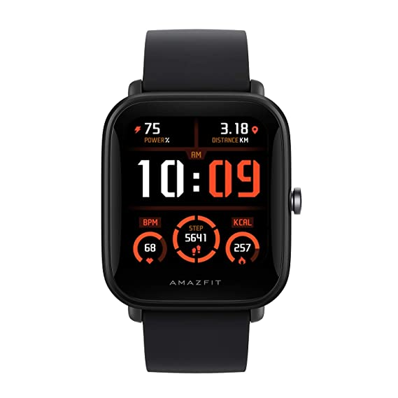 """Amazfit Bip U Pro Smart Watch Sports Watch with Bulit-in Alexa and GPS,Electronic Compass, 60+ Sports Modes, 5 ATM, Fitness Tracker with SpO2, HR,Sleep,Stress Monitor, 1.43"""" Color Touch Screen (Black)"""