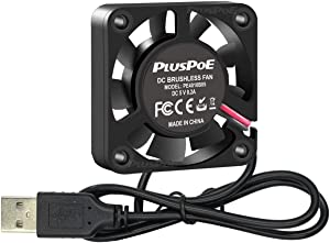 PLUSPOE DC 5V USB Brushless Cooling Fan, 40mm x10mm, Dual Ball Bearing Quiet Operation w/Speed 6800 RPM