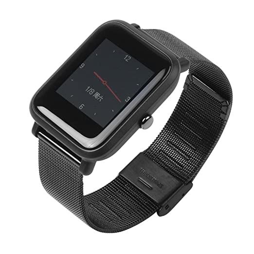 MYQyiyi milanés Correa de Acero inoxidable de Reloj para Xiaomi Huami Amazfit Bip Youth Watch: Amazon.es: Relojes