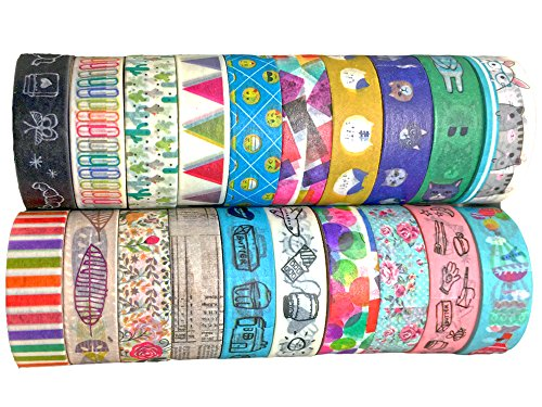Washi Tape Gift Box by Fairy Bear Co. Unique Elegant New Designs for Crafts DIY Planners 20 Pack