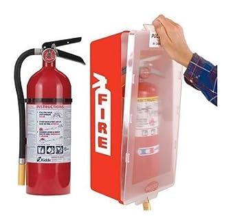Amazon.com: Extintor con gabinete, color rojo tina/cubierta ...