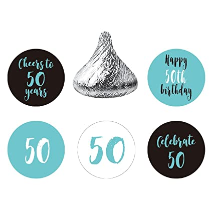 MAGJUCHE Blue 50th Birthday Party Favors Stickers Round Candy Labels Fit Hersheys Kisses 200