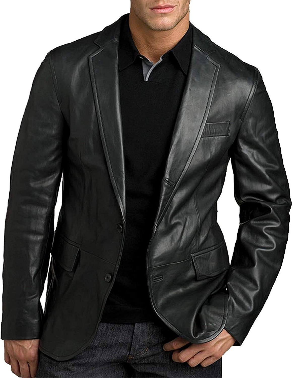 King Leathers Mens Genuine Lambskin Real Leather Blazer Two Button Black Coat