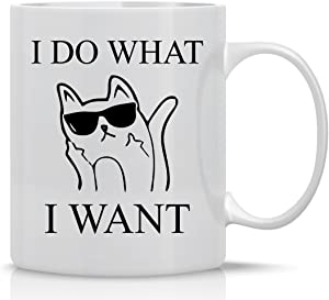 I Do What I Want - Funny Cat Mug - 11OZ Coffee Mug - Mugs For Women - Angry Cat Mug, Grumpy Cat Mug - Perfect Gift for Mother's Day - By AW Fashions