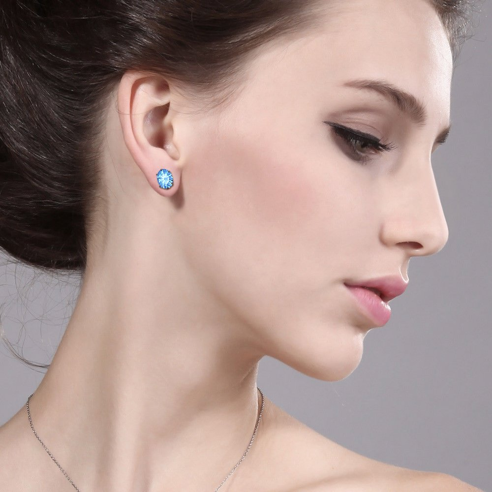 tusakha Solitaire 5x7mm Oval Cut Created Blue Topaz Stud Earrings For Womens /& Girls