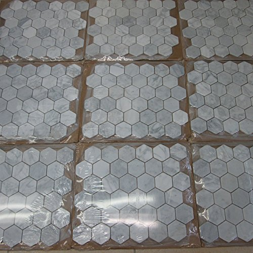Chic Carrara White Italian Carrera Marble Hexagon Mosaic Tile Inch - 2 carrara marble hexagon floors