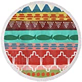 Pixels Round Beach Towel With Tassels featuring ''Southwest With Fish- Art By Linda Woods'' by Linda Woods
