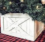 Finn & Co Home Wood Christmas Tree Box Skirt (White Distressed)
