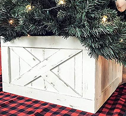 Finn Co Home Wood Christmas Tree Box Skirt White Distressed