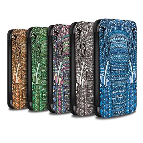Stuff4 Coque/Etui/Housse Cuir PU Case/Cover pour Apple iPhone 4/4S / éléphant-8 Pack Design / Motif Animaux Aztec Collection