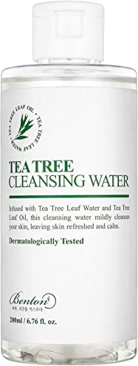 BENTON Tea Tree Cleansing Water 200ml (6.76 fl.oz.) - Contains 70% Tea Tree Leaf Water & Oil, Removes Heavy Makeup without Skin Irritation for Sensitive Oily Skin, Sebum Control, Soothing & Hydrating