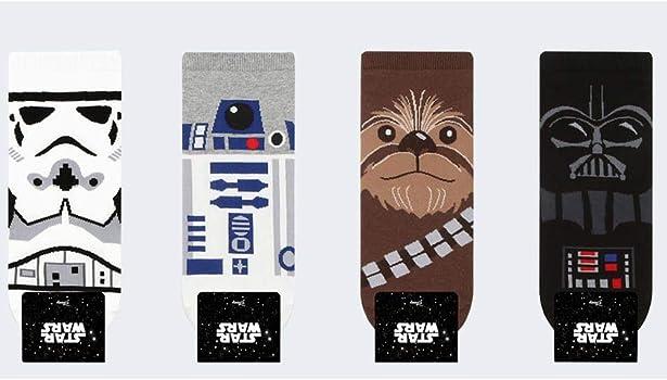 4 pares Small luxury socks factory Calcetines de Star Wars para hombre con bolsa