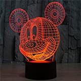 Mickey Mouse 3D Night Light Table Desk Lamps for Kids Room, Elstey 7 Colors Changing Key Button Switch Atmosphere Lights with Acrylic Flat & ABS Base & USB Charge