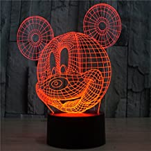 LOTOS Mickey Mouse 3D Night Light Table Desk Lamps for Kids Room,7 Colors Changing Key Button Switch Atmosphere Lights with Acrylic Flat & ABS Base & USB Charge