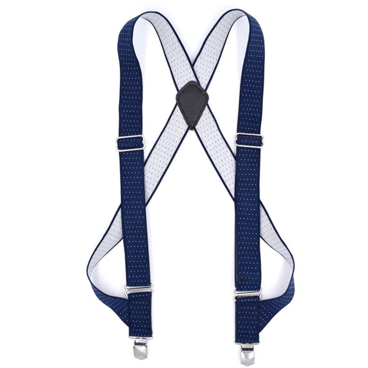 Hip-clip Undergarment 1.4'' Wide Trucker Style Comfort Suspenders Metal No-slip Clips (Hip-clip Blue)