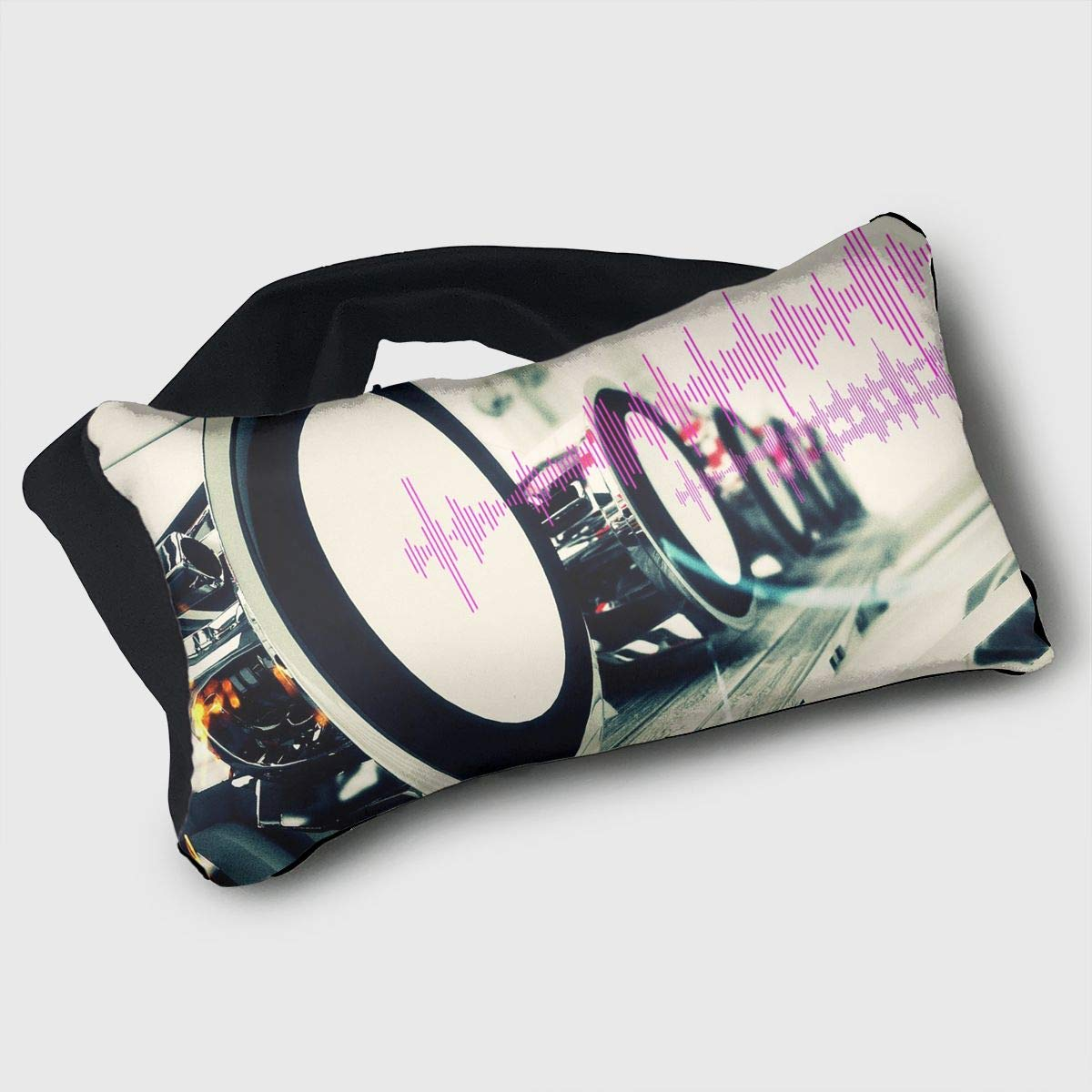 Voyage Travel Pillow Eye Mask 2 in 1 Portable Neck Support Scarf Music Sound Wave Ergonomic Naps Rest Pillows Sleeper Versatile for Airplanes Car Train Bus Home Office