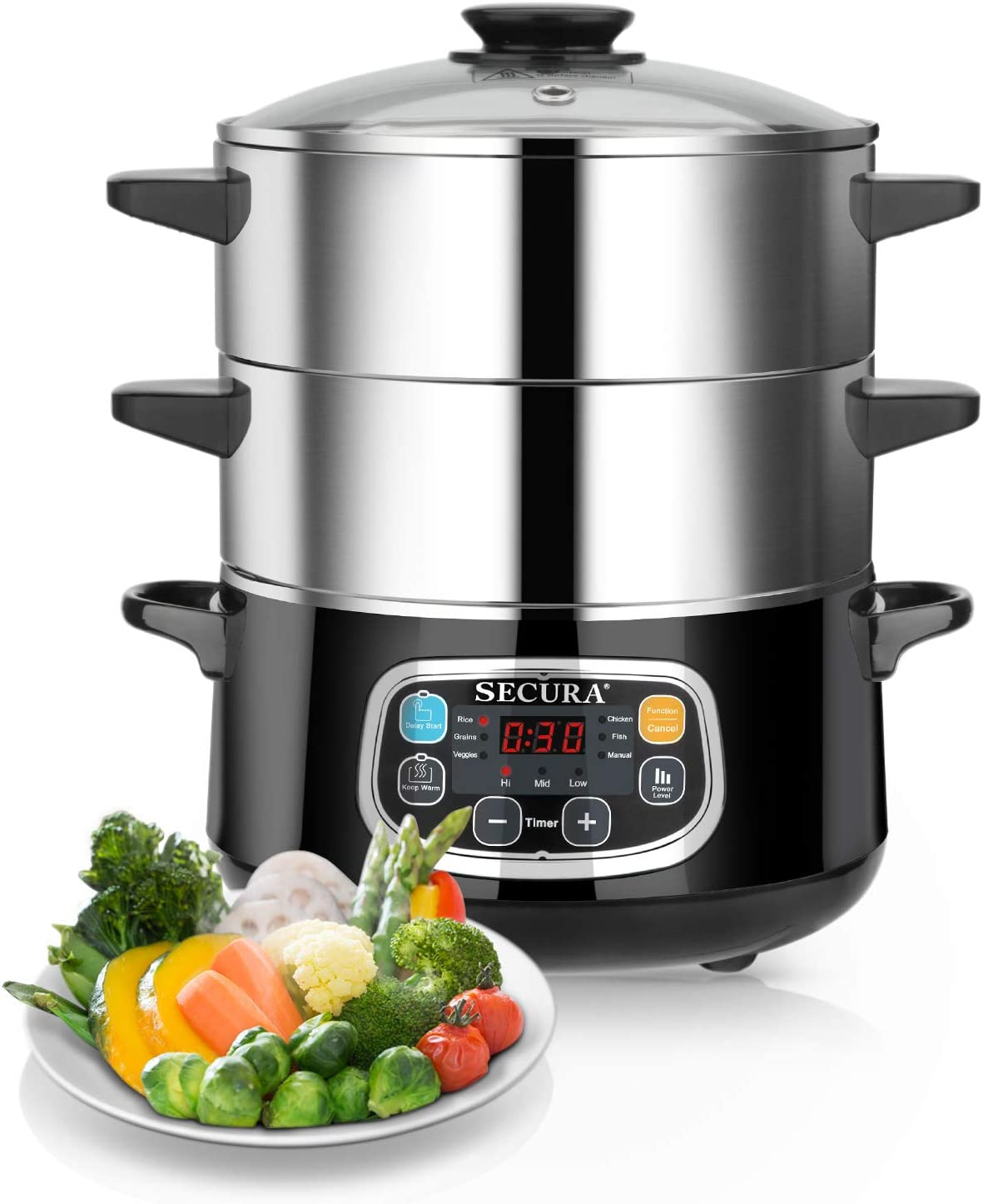 Secura Electric Food Steamer, Vegetable Steamer Double Tiered Stackable Baskets with Timer