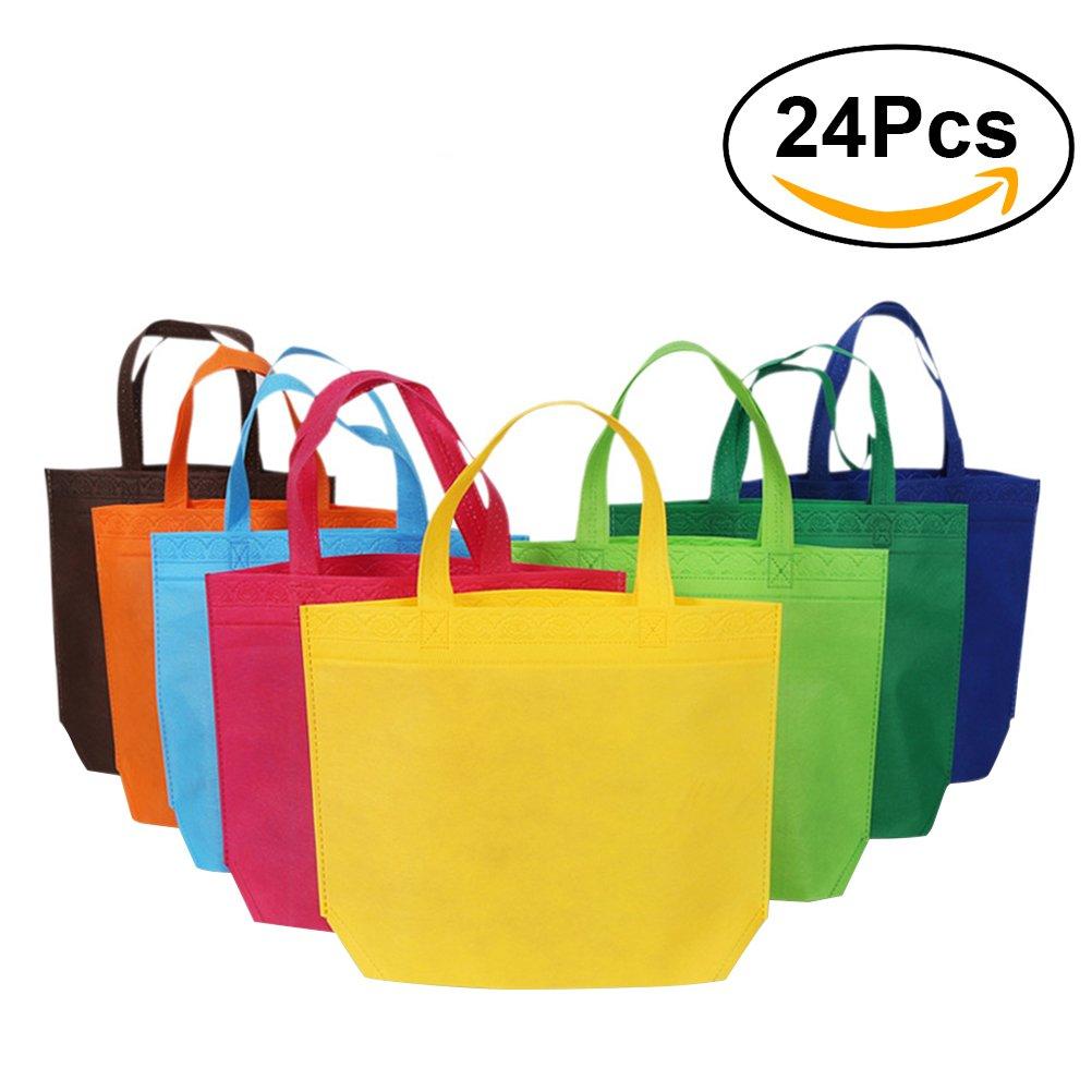 NUOLUX 24pcs不織布のショッピング再利用可能なバッグGroceryトートバッグパーティーギフトバッグ – アソートカラー B075T2L41Z
