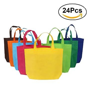 NUOLUX 24pcs bolsos reutilizables no tejidos que llevan la bolsa de asas del ultramarinos para el bolso del regalo del favor de partido de las compras ...