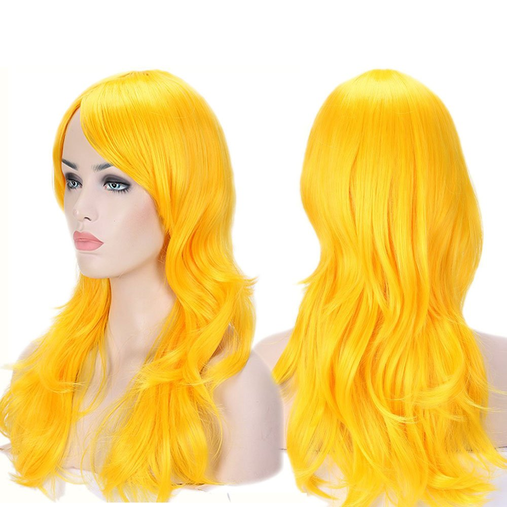 Anime Cosplay Wigs Big Wave Wig Layered with Bangs and Cap Wigs for Women (24''-Wavy,yellow)
