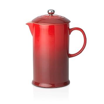 Le Creuset Cafetera Francesa con Prensa de Acero Inoxidable, Cerámica de gres, Rojo(Cereza), 800 ml