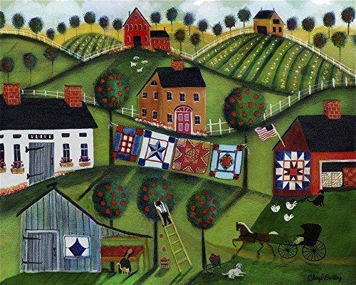 Amish Folk Art Quilts by Cheryl Bartley Art Print, 13 x 10 inches