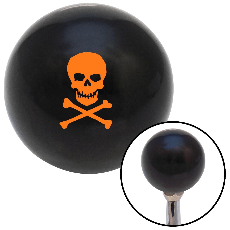 American Shifter 109331 Black Shift Knob with M16 x 1.5 Insert Orange Skull /& Bones