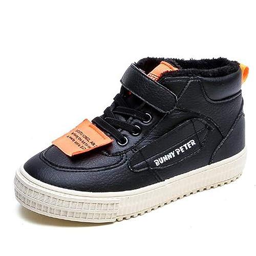 12bb94cecba7a Scarpe da Ginnastica Invernali per Bambini e Ragazzi Scarpe Alte Bianche  Nere Scarpe Antiscivolo Scarpe Sportive