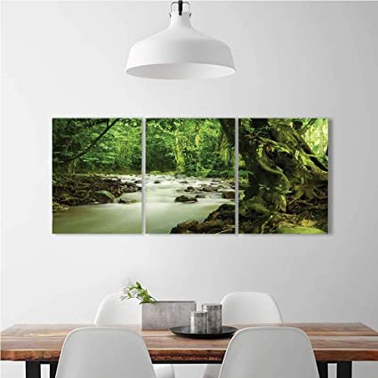 3 Pieces Triptych Painting Living Room Decoration Frameless Tropical Rain  And Rocky River In Selangor State