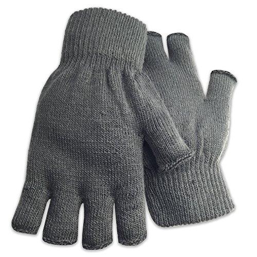 Winter Fingerless Gloves Warm Half Finger Knitted -Unisex Standard Size - Charcoal ()