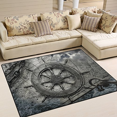 Naanle Ocean Area Rug 5'x7', Steering Wheel Charts Anchor Chains Polyester Area Rug Mat for Living Dining Dorm Room Bedroom Home Decorative (Area Nautical Rugs)