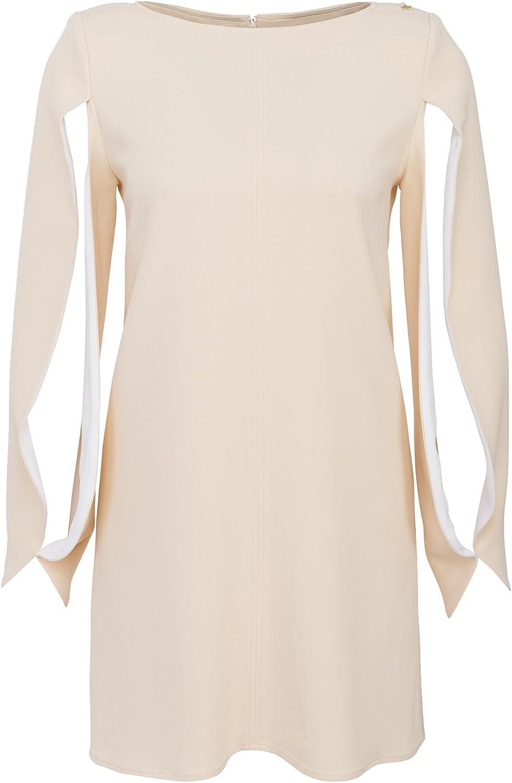 Elisabetta Franchi Damen Mini Kleid Mit Cape Ärmeln Sand, Größe 17