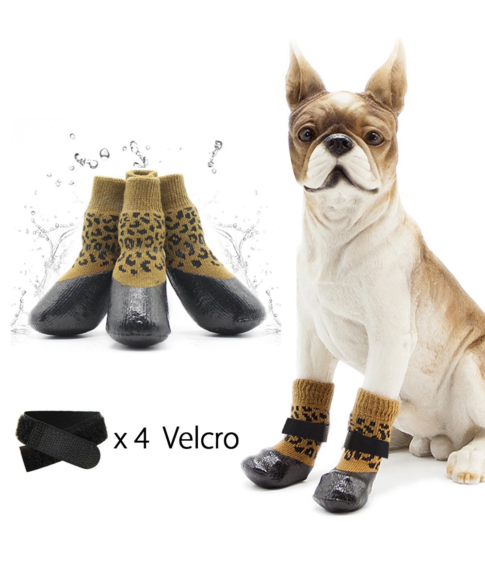 loveone Waterproof Pets Socks, Anti-Skidding Warm Dog Shoes breathable Rain Boots, Elastic Top Line Design, Paw protector Suit for Outdoor Sport in Winter. (Yello Leopard Print, 2.6'' x 3.1'' x 6.3'')