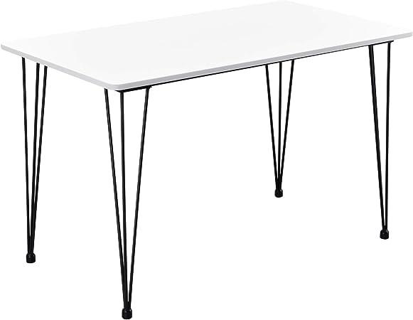 Tavolo per Sala da Pranzo Cantenbury con Gambe Hairpin 4 Posti 120 x 70 x 75 cm Acciaio MDF Bianco en.casa
