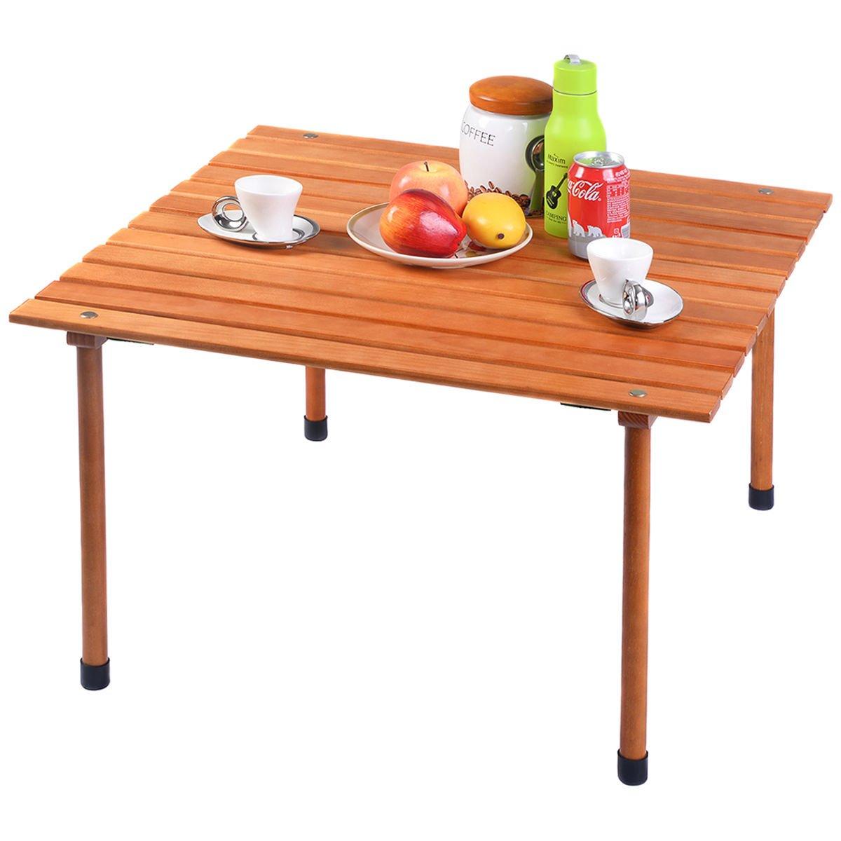 chonlakrit Wood Roll Upテーブル折りたたみキャンプアウトドアインドアピクニックW /バッグ B071ZZJ5N1