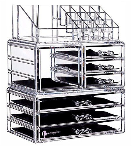 (Cq acrylic 7 Drawers and 16 Grid Makeup Organizer,9.5